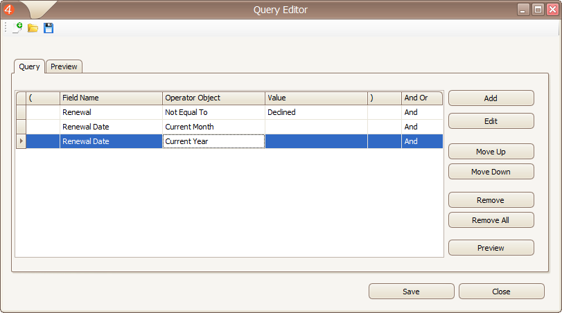 Create, Save, and Open Advanced Queries within Custom Tables