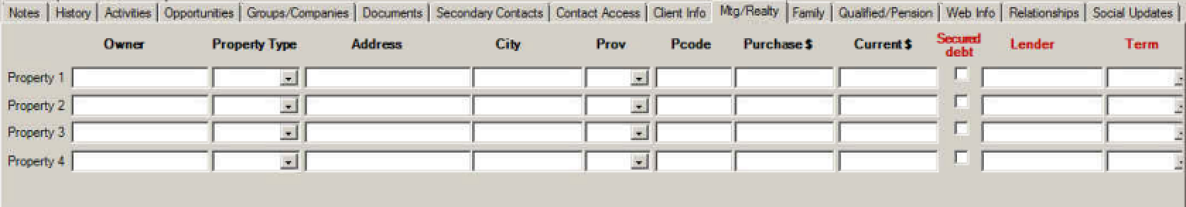 Mortgages in Contact table